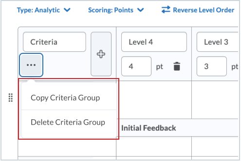 The Copy and Delete options are available in the action menu on the Criteria Group header
