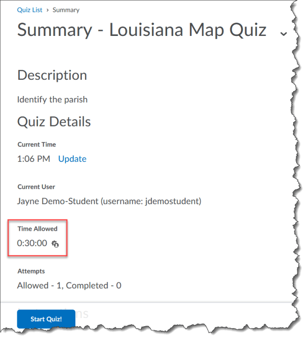 Example of accommodations reflected in the quiz's time allowed.