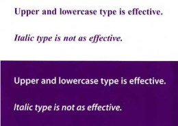 image showing font style that is effective and font style that is not effective
