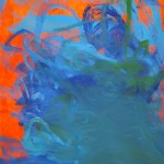 Orange background with a concentration of blue-green brushstrokes moving out from the bottom right of the canvas.