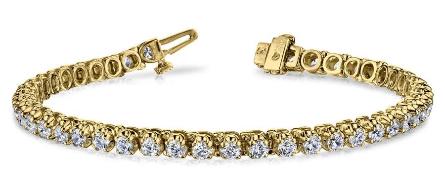 B128 4 Prong Bracelet Yellow Gold