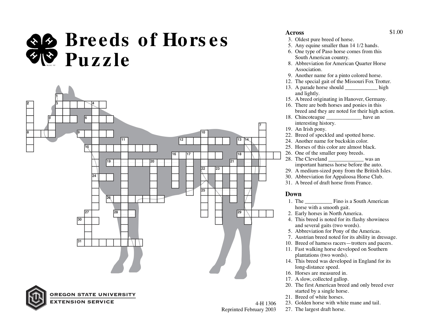 Breeds Of Horses Puzzle