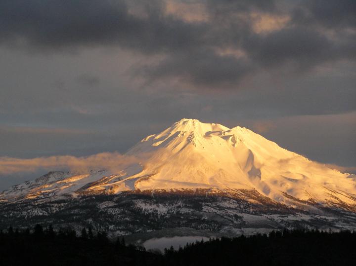 Golden light on Mt Shasta