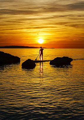 paddle au coucher de soleil à porquerolles