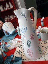 Underglaze paint on pitcher