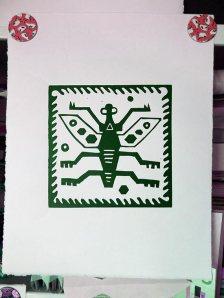 Peru Bug linocut drying