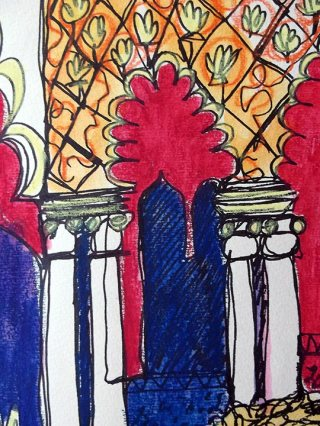 Black pen & watercolour crayons