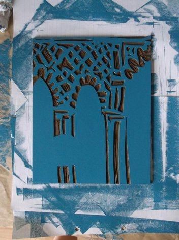 Inked lino block