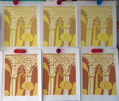Linocut blocks1 & 2 printed