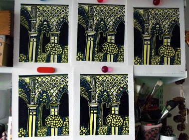 Final multi-plate linocuts drying
