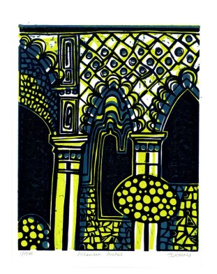 Alhambra Arches, three block linocut print