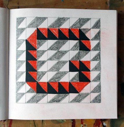 Letter G linocut design; pencil, pen & pastel © Catherine Cronin