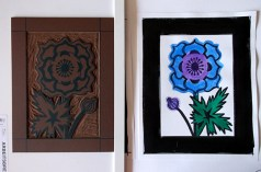 Japanese Anenome, lino block & sketch © Catherine Cronin