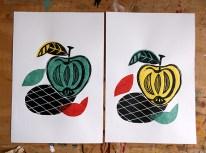 Apple Pop Linocut & Chine-collé © Catherine Cronin