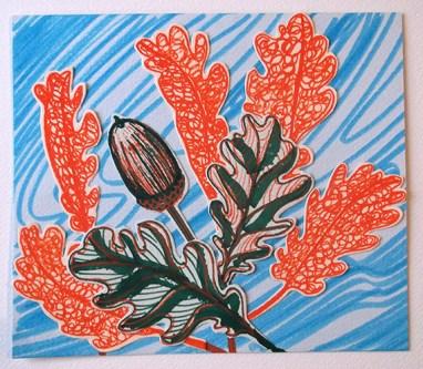 English Oak Leaves & Acorn, drawn collage, © Catherine Cronin