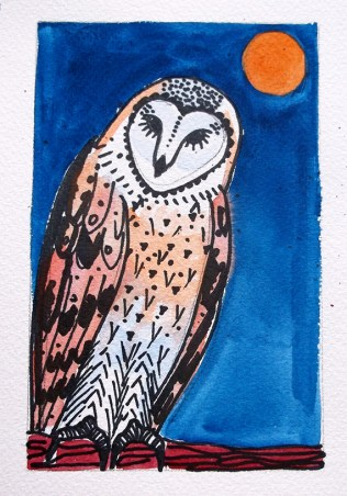 Barn Owl - watercolour 1 © Catherine Cronin