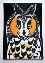 Long-eared Owl, black pen & watercolour, postcard © Catherine Cronin