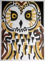 Short-eared Owl, marker pens, postcard size © Catherine Cronin