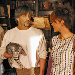 Halle Berry and a Bengal cat