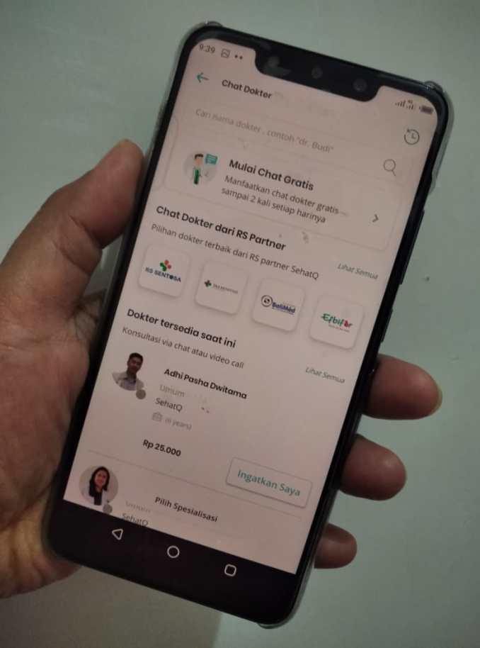 Fitur chat dokter aplikasi sehatQ