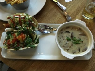 Mushroom soup and fish tacos