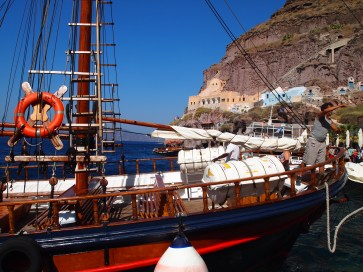 a traditional boat in Santorini