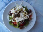Greek salad with feta, olives, onions & tomatoes