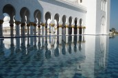 the reflecting pool at the Sheikh Zayed bin Sultan al-Nahyan Mosque in Abu Dhabi, UAE.
