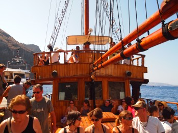 heading to the volcano on boat, Santorini, Greece