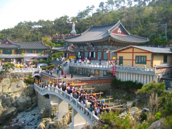 a Buddhist celebration at a temple in Busan, South Korea