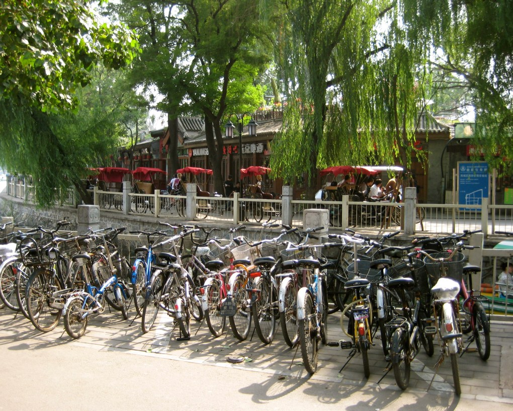 bicycle culture in Houhai Lake, China