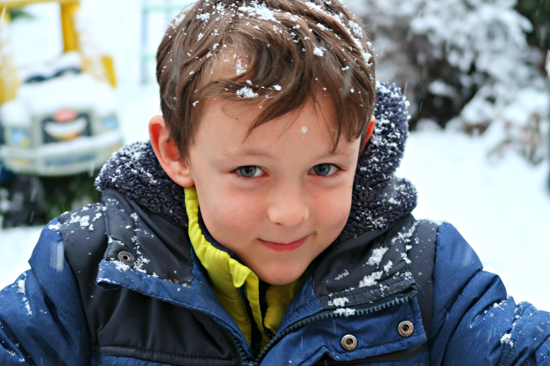 boy in snowflakes