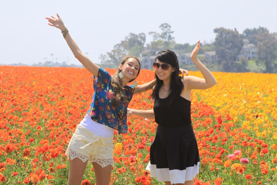 Play in flower fields with your best friend..... Check!