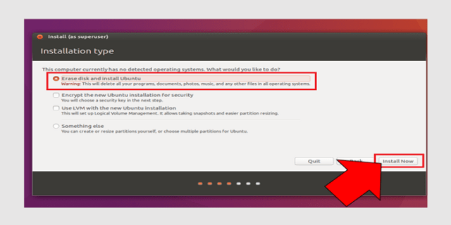 erase disk and install ubuntu
