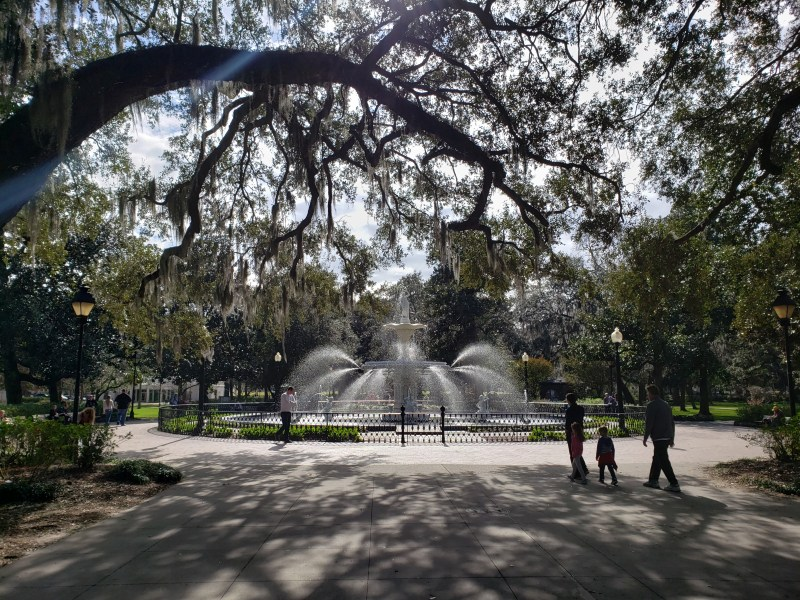 Fountain and family in a shady park