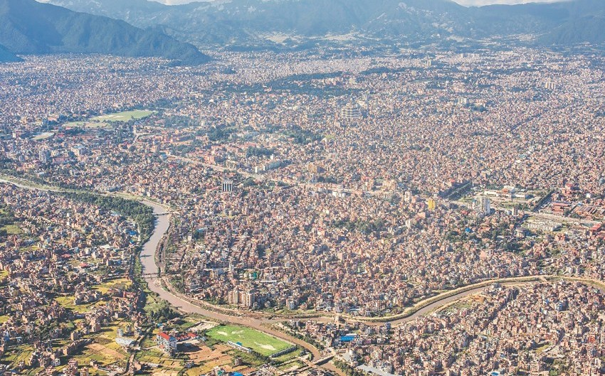 An aerial view of Kathmandu; Kathmandu Smart City