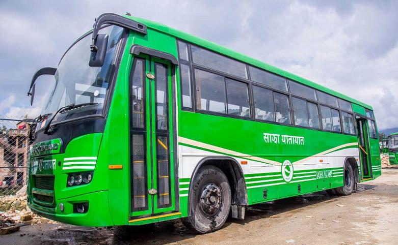 Sajha Bus at the bus stop.