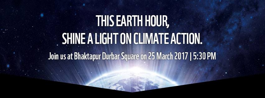 Earth hour Nepal 2017: Shine a Light on Climate Action Banner
