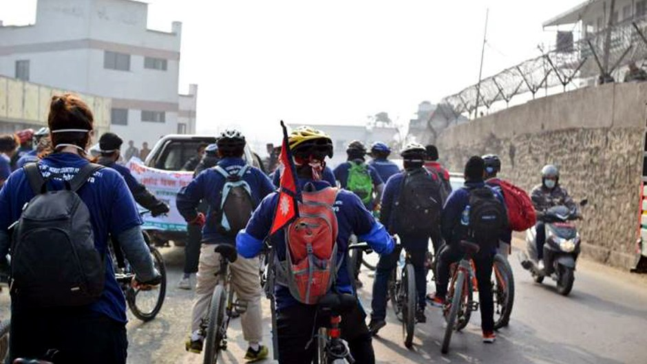 Cycle Rally Conducted to Produce Awareness of Unending Air Pollution. Image Source: Glocal Khabar
