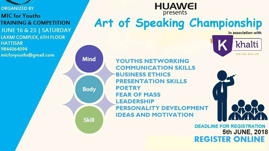 MIC For Youths | Art of Speaking Championship. Image Source: Facebook