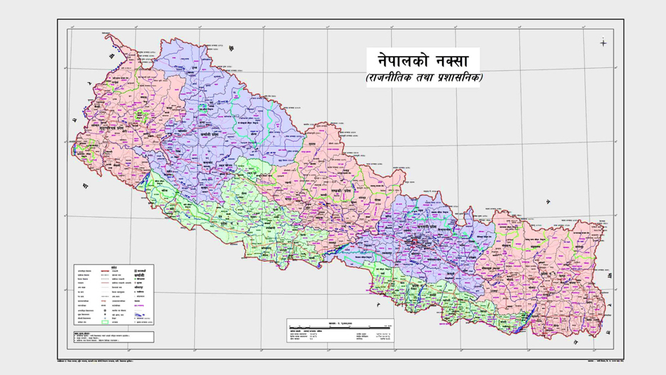 The new political map of Nepall comprising of the disputed lands of Kalapani, Limpuyadhura, Lipulekh, published on May 20, 2020. Photo Cpurtesy: Bishnu Rimal/Twitter
