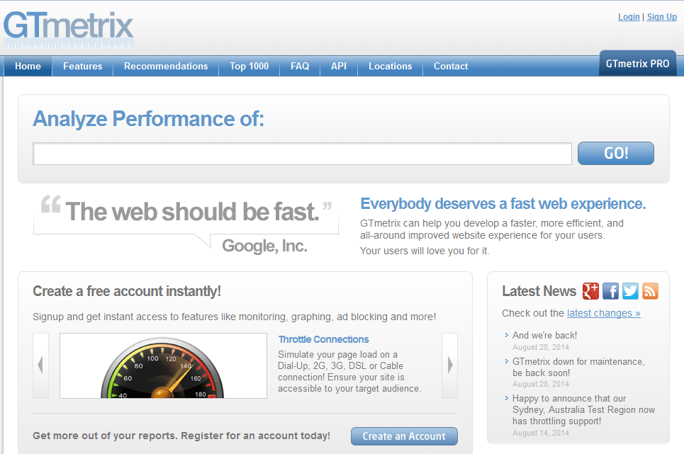 Tools To Check Website Speed - GTMetrix