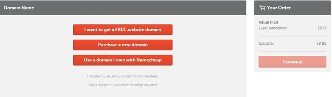 NameCheap promo Coupons - Selecting domain