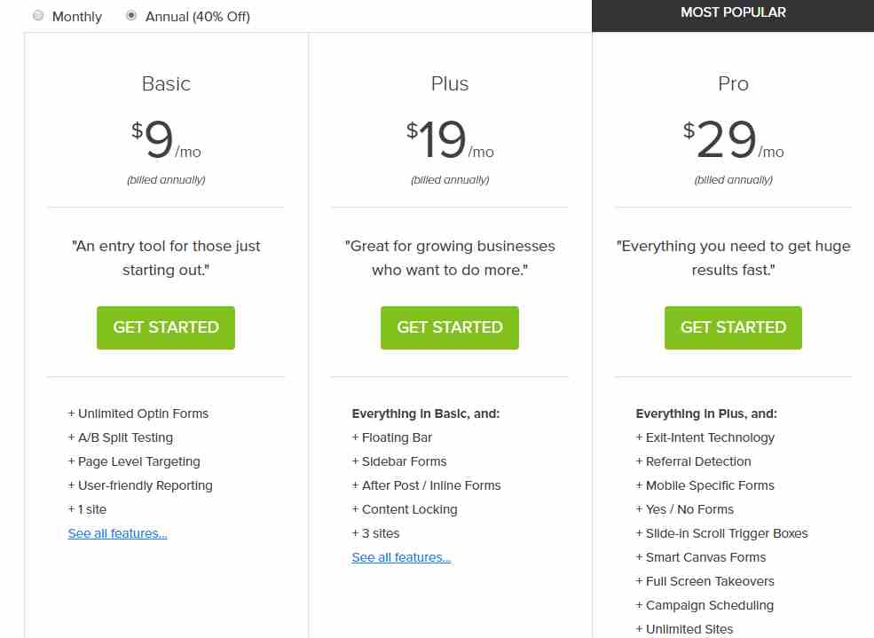 optinmonster wordpress plugin reviews plans pricing
