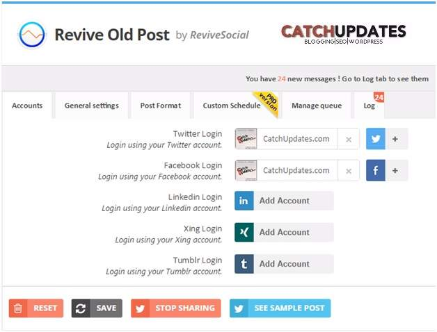 Revive Old Post Plugin - Accounts