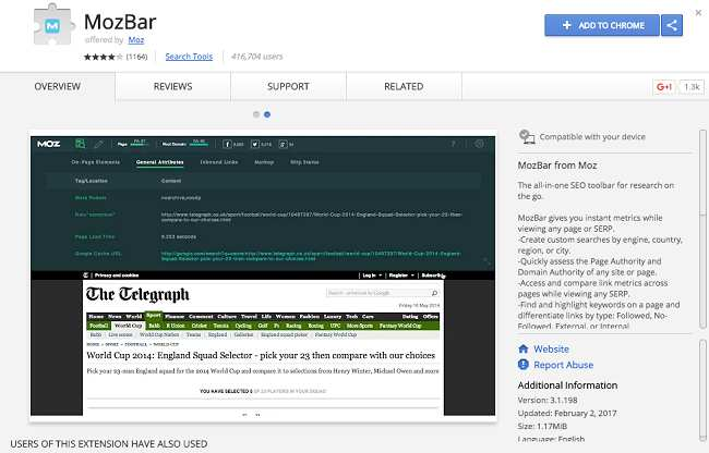 mozbar - SEO Chrome Extensions