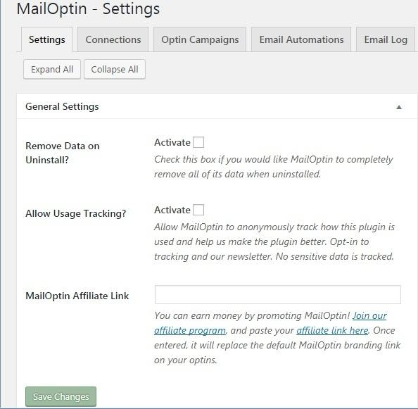 MailOptin Review - Settings