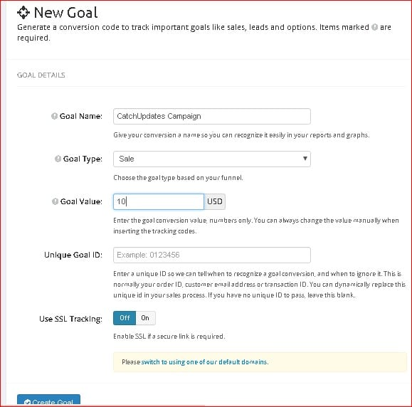 Link Tracker New Goal Setting