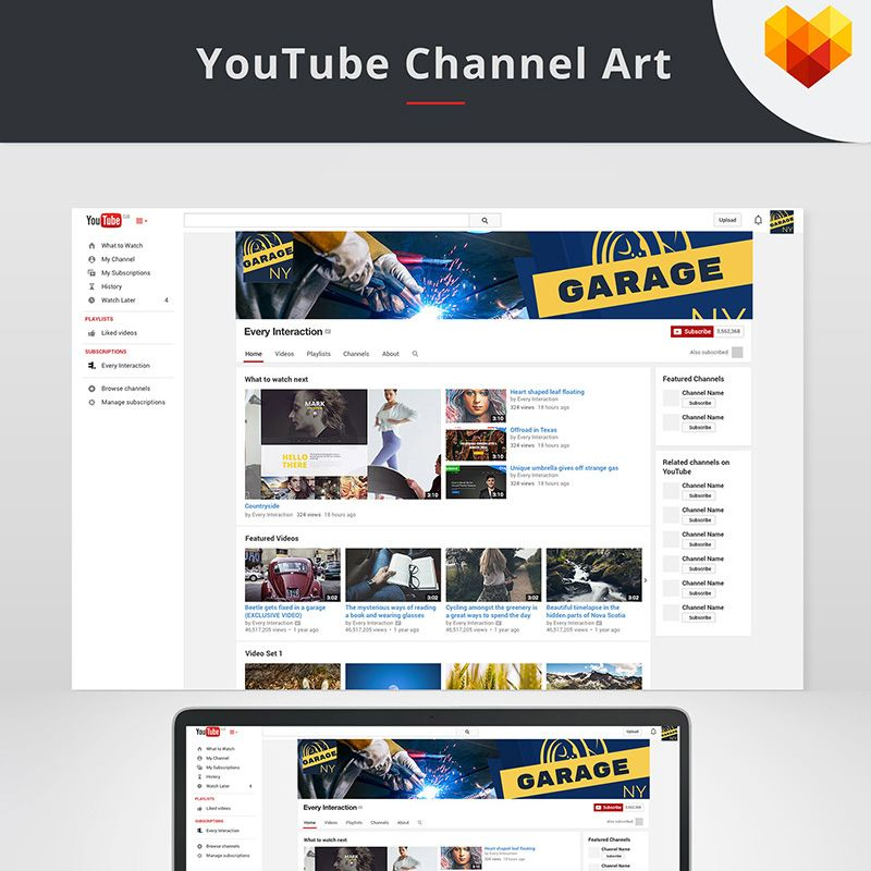YouTube Channel Art for Auto Shop Social Template