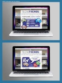Banners para Tecnifrenos. Banners publicitarios para los talleres de automóviles Tecnifrenos. Advertising banners for Tecnifrenos garage and repair shop.